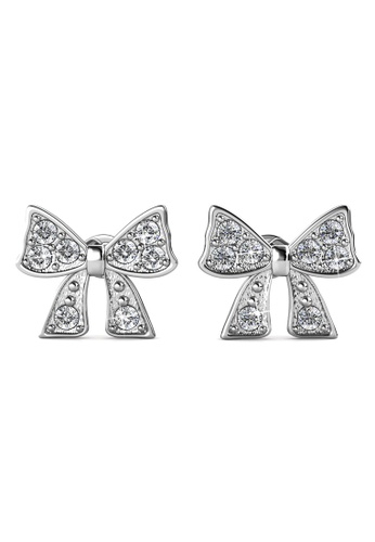 Her Jewellery Silver Ribbon Bow Earrings Embellished With Crystals From Swarovski He210ac0h98csg 1