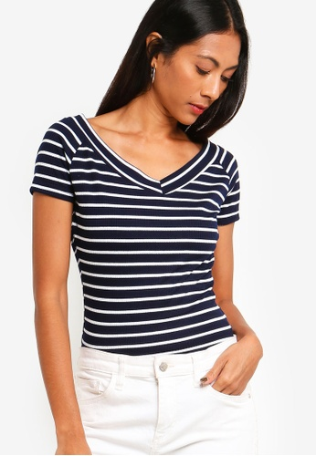 ZALORA BASICS navy Basic Wide Neck Rib Top 05A76AA9EB568FGS_1