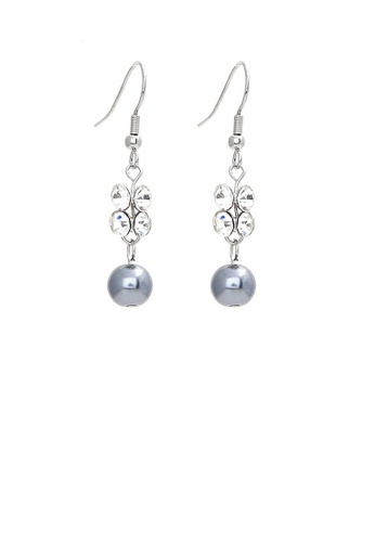 Glamorousky silver Elegant Earrings with Silver Austrian Element Crystals and Black Fashion Pearl 6BAEAAC20B42B1GS_1
