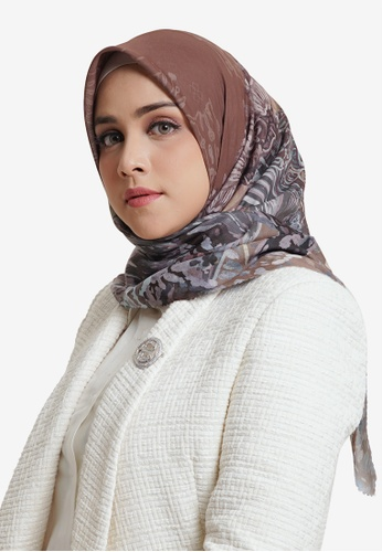 Buttonscarves brown Buttonscarves The Farsha Voile Square Rustic Brown D467CAA5C28569GS_1