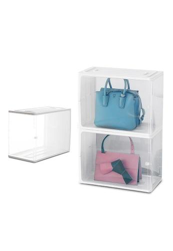 HOUZE white HOUZE - Stackable Luxury Bag See Thru Storage (Dim: 38x18x25.5cm) B54CFHLDC92D38GS_1