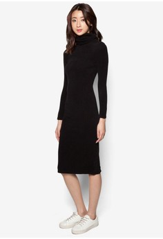 High Collar Ribbed Fitted Long Dress