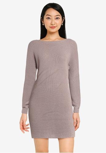 ZALORA BASICS pink Boat Neck Knit Dress 2E998AA2F6BF25GS_1