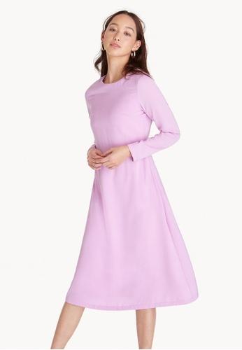 Pomelo purple Long Sleeves Straight Dress - Lilac 78EA9AA4CAEEAAGS_1