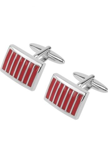 CUFF IT red Red Stripped Rectangular Cufflinks CU047AC45FGGHK_1