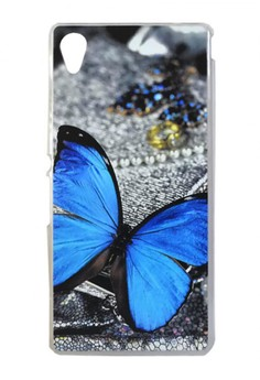 Sony Xperia M4 Aqua Blue Butterfly Design Hard Case