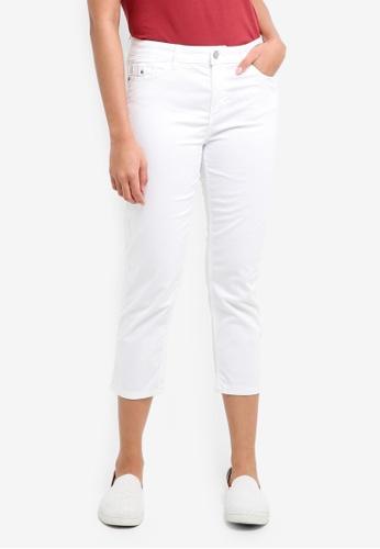ESPRIT white Woven Cropped Pants E8A72AA54BB50DGS_1