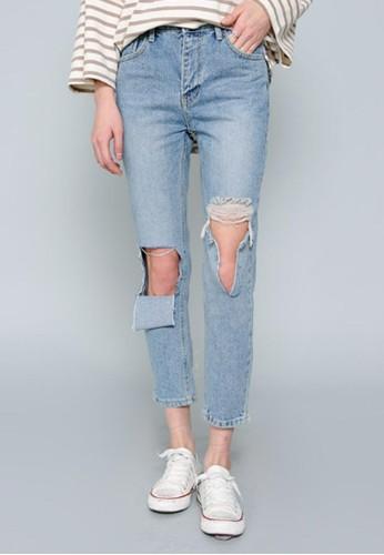 露膝esprit 中文直筒牛仔褲, 服飾, 牛仔褲