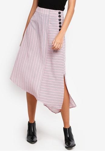 ZALORA pink and multi Asymmetric Skirt 5D692AA810DB14GS_1