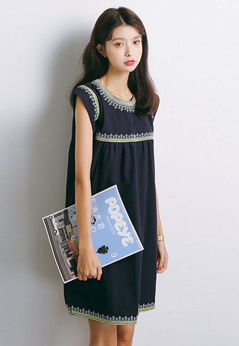 Piece Blue New Dress Embroidery 2018 Blue Sunnydaysweety A041114 One O4zqxH