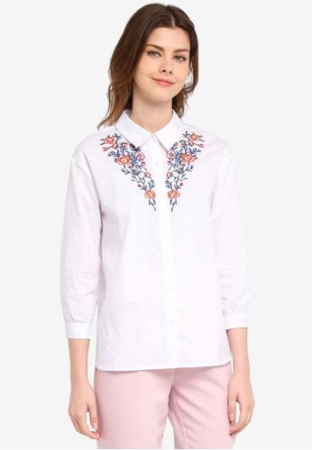 Zalia white Embroidered Shirt 308A3AA4059C12GS_1