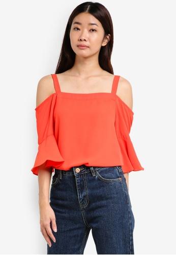 Dorothy Perkins orange Coral Cold Shoulder Top DO816AA33STIMY_1
