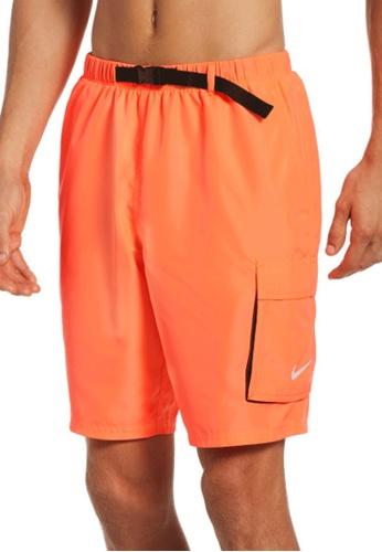 "Nike orange Nike Swim Men's Belted Packable 9"" Volley Short 904E0US2CD7D81GS_1"