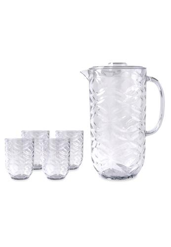 Urban Kitchen white Festive Plastic Pitcher and 4 pc Tumbler Set Clear 4EA94HL02411A9GS_1