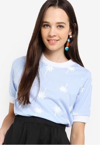 Something Borrowed 藍色 滿版印花T恤 3FF65AA845E506GS_1