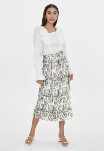 Pomelo white Midi Floral Printed Pleat Skirt - White 6F3E6AAE3DD12AGS_1