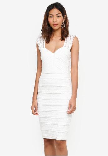 Lipsy white White Ruffle Bardot Bodycon Dress 1F6C6AA8FFC149GS_1