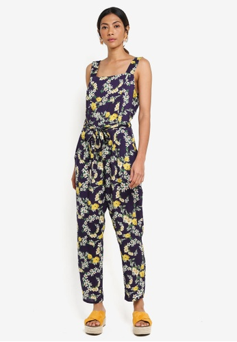 Dorothy Perkins navy Petite Navy Floral Jumpsuit 86C3CAA3A3F039GS_1