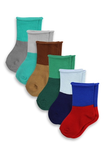 APAIR grey and red and green and blue and multi and brown 6-Pack Two Toned Infant Socks D8182KA3084B38GS_1