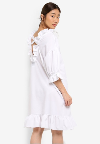 Stylenanda white Ruffle Hem Sweatshirt Dress D5E62AA5C6DD77GS_1