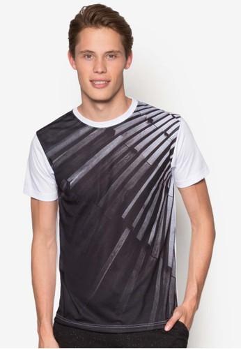 黑白印花T 恤, 服飾, 印圖Tesprit taiwan恤