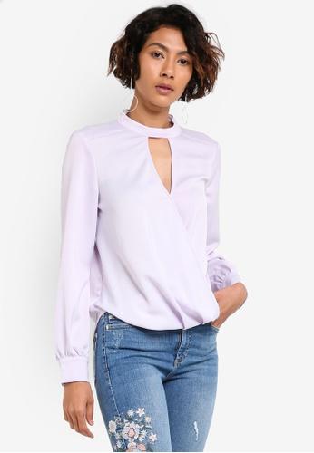 Miss Selfridge purple Lilac Choker Wrap Blouse MI665AA00BBZMY_1