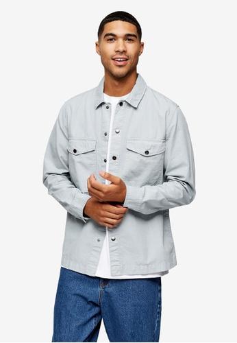 Topman grey Grey Ripstop Overshirt CE001AA44248E2GS_1
