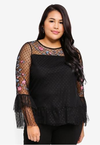 Junarose black Plus Size Danina Blouse 19B00AAF18646FGS_1