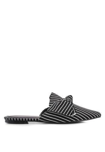 Something Borrowed black Pin-striped Slip on flats CBE20SH869D3ADGS_1