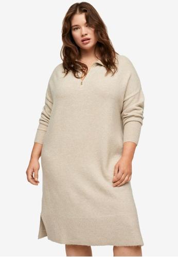 Violeta by MANGO beige Plus Size Zip Knitted Dress 90922AAACC72D9GS_1