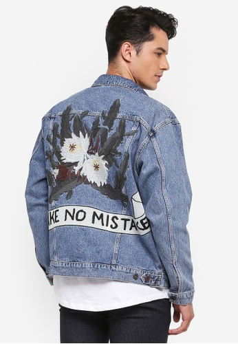 Topman blue Blue Embroidered Oversized Denim Jacket 68774AACB9FD6EGS_1