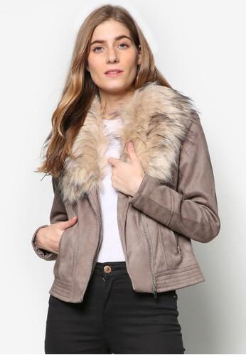 仿esprit官網毛領麂皮騎士外套, 服飾, 服飾