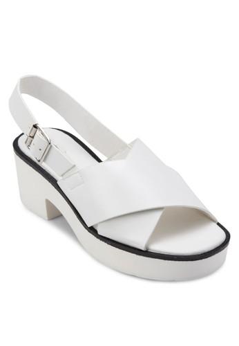 交叉寬帶厚底高zalora是哪裡的牌子跟涼鞋, 女鞋, 鞋