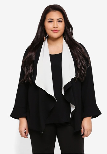 Ex'otico black Plus Size Long Sleeve Double Layer Blouse 1324DAAD148492GS_1