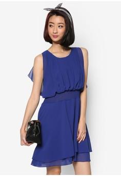 Pleated Front Chiffon Dress