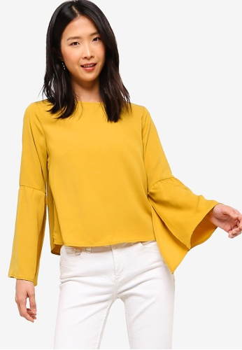 ZALORA BASICS yellow Basic Split Sleeves Blouse E69C0AA57EC7ADGS_1