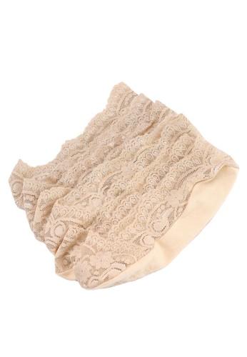 UniqTee beige Pack Of 3 Lace Invisible Socks 026B9AAF41094EGS_1