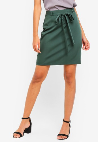 ZALORA BASICS green Basic Tie Front Mini Skirt E72D4AAFD7FF24GS_1