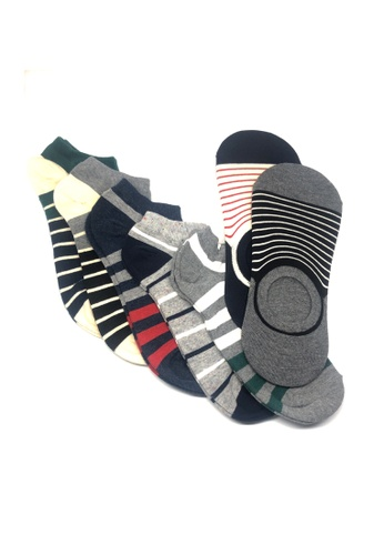 M-Wanted black and grey and white and blue and multi M. My Daily Socks-tual Stripes Pattern Low Cut X No Show Socks 7 Pack E3AA4AABA641C0GS_1