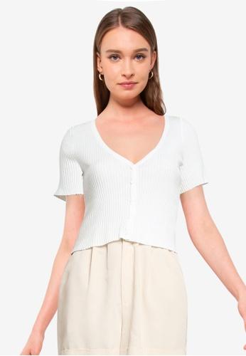 Supre white Liv Short Sleeve Button Through Top DAA81AA09EE812GS_1