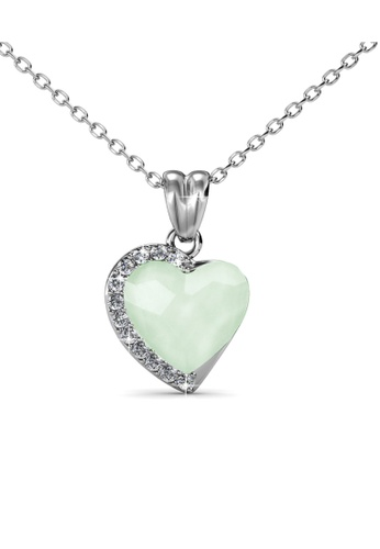Her Jewellery silver Fond Love Pendant (Chyrsolite Opal) - Made with premium grade crystals from Austria HE210AC0GFI5SG_1
