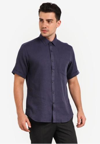Kent & Crew 海軍藍色 Custom Fit Short Sleeve Shirt KE579AA0RJRNMY_1