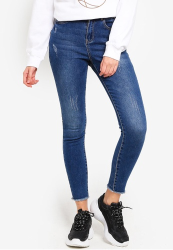 MISSGUIDED blue Sinner High Waisted Clean Jeans 7AD3EAAF6F7C59GS_1