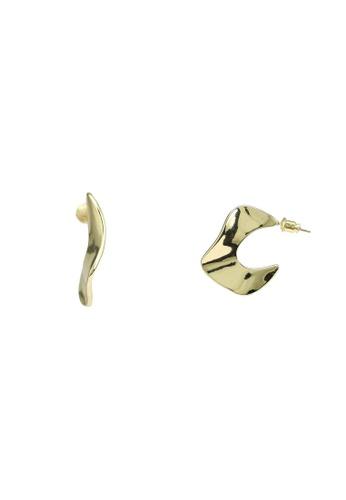 Red's Revenge gold Bold Curves Hoop Earrings CC1E6ACA450C8BGS_1