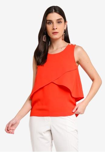 ZALORA 橘色 鈕釦層次無袖上衣 F054FAAD1D2433GS_1