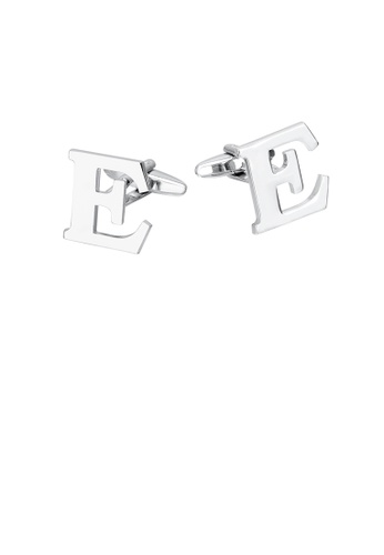 Glamorousky silver Simple Personality English Alphabet E Cufflinks F809CAC2D1C10FGS_1