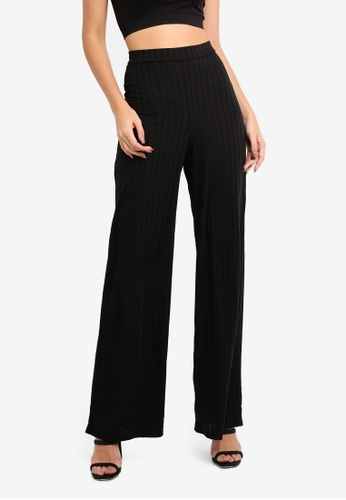 MISSGUIDED 黑色 Rib Wid Leg Trousers 5E46CAA883ED27GS_1