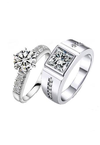 Elfi white and silver Elfi 925 Genuine Silver Couple Ring C22 EL186AC85EOCMY_1