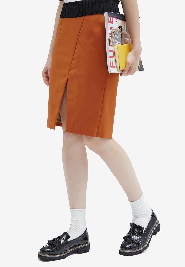 High Slit Waist Hopeshow Skirt Caramel qaXXEw