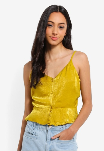 Cotton On yellow Penny Button Cami Top 6D68AAA4259F8AGS_1